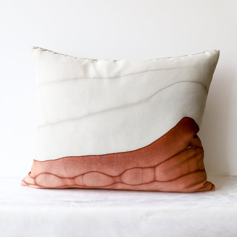 Tides Red Clay Lumbar Pillow made of 100% silk front, Belgian linen back and fully lined in cotton muslin by Rule of Three Studio