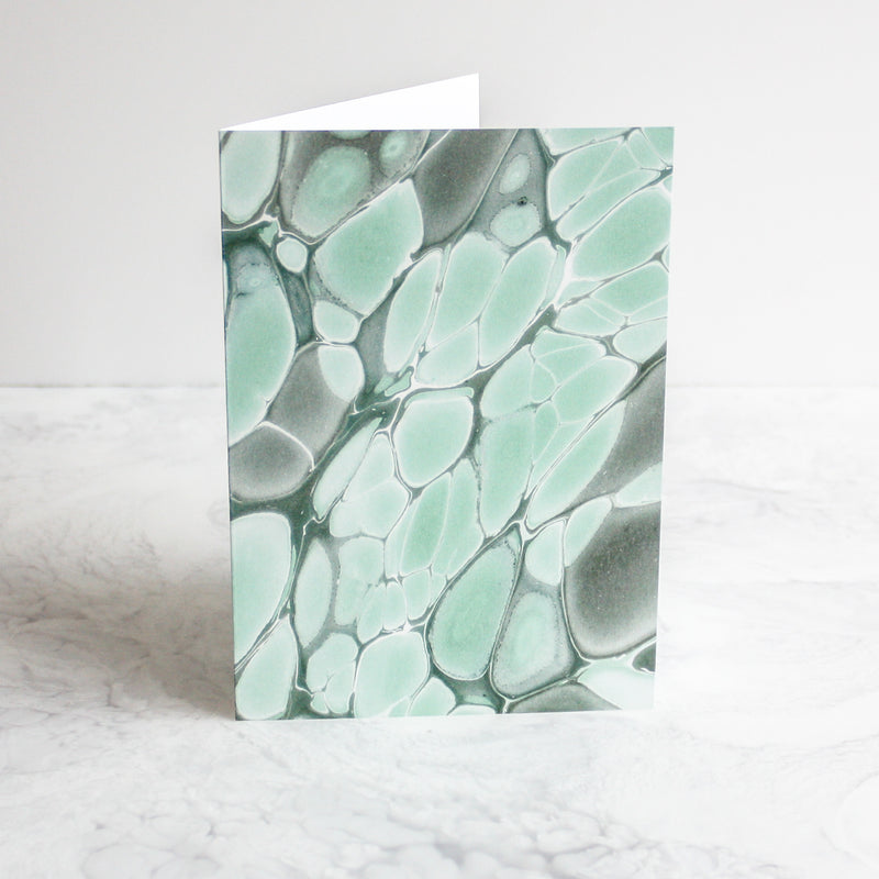 Marbleized greeting cards in amazonite green
