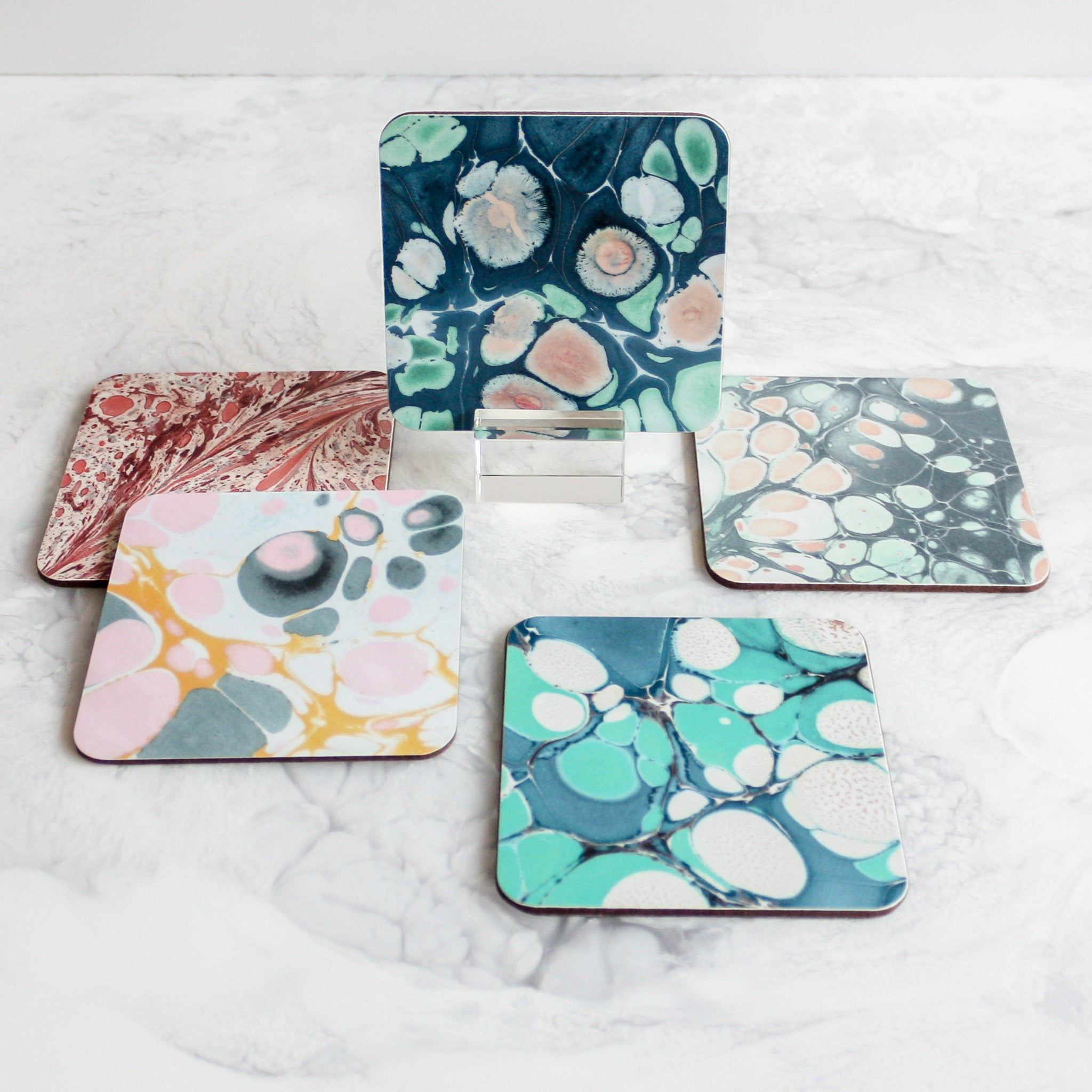 Marbleized coasters