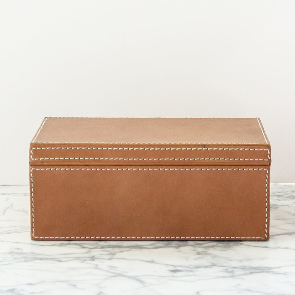 Selby Boxes made with full-grain leather in aged camel by Pigeon and Poodle