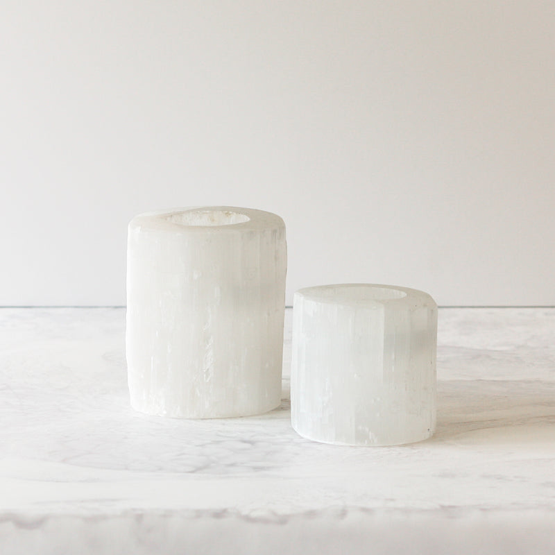 Selenite Tealight Holders in small and large
