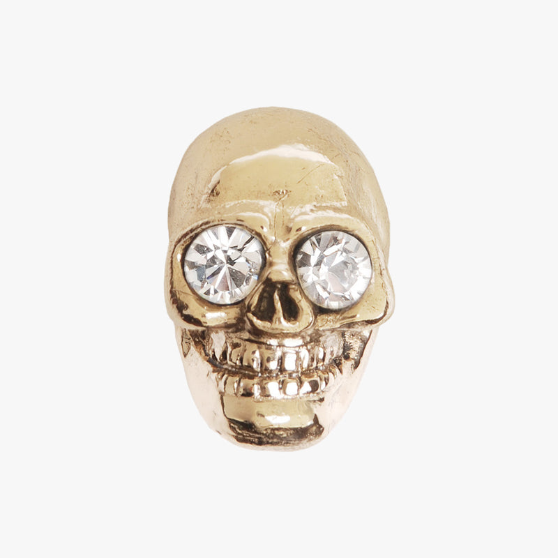 Skull knob handmade with crystal and polished brass by Matthew Studios