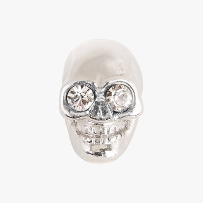 Skull knob handmade with crystal and polished chrome by Matthew Studios