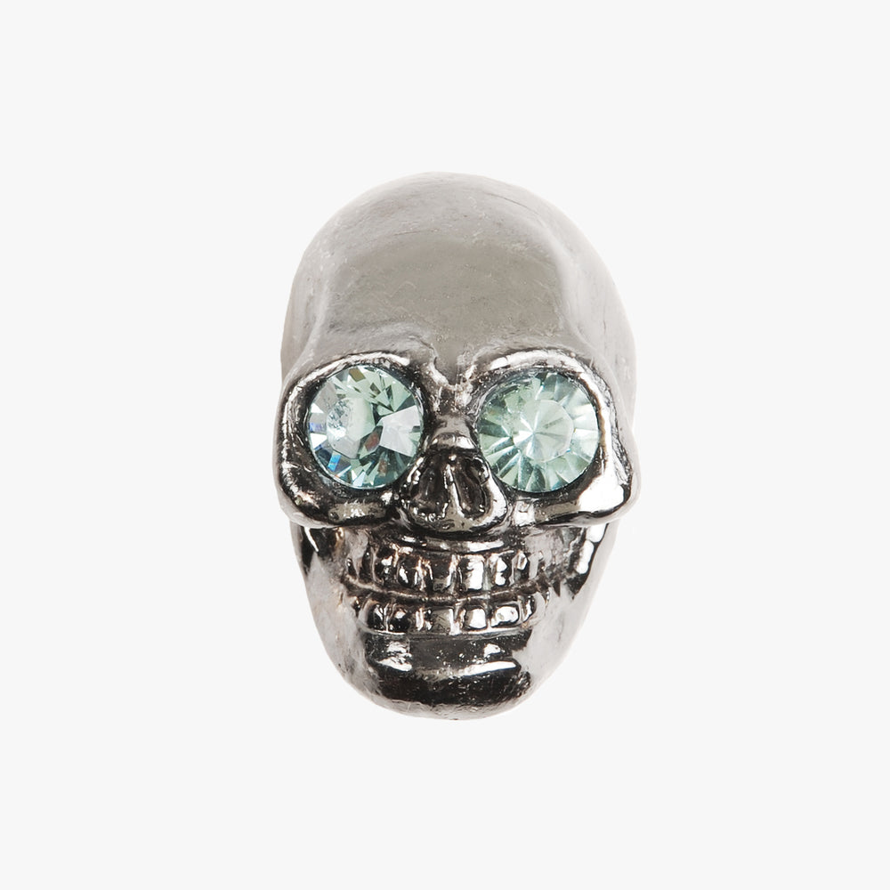 Skull knob handmade with crystal and polished nickel by Matthew Studios