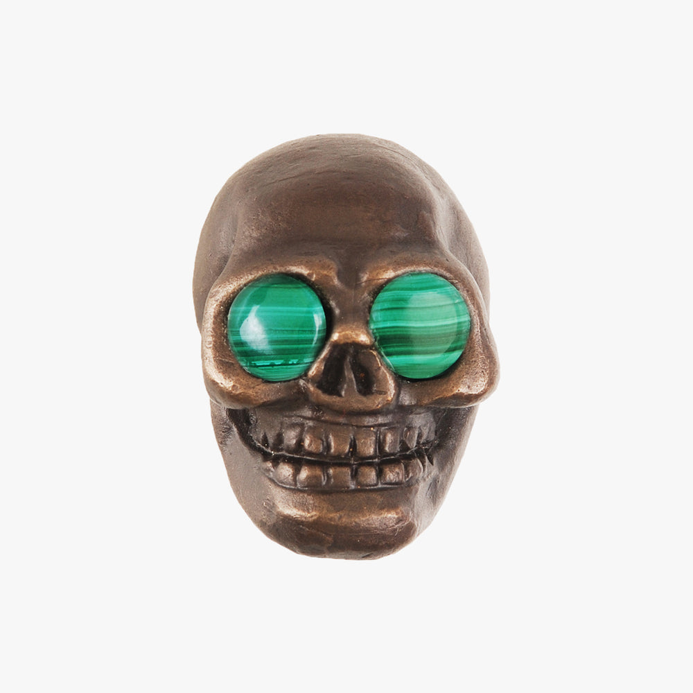 Skull knob handmade with malachite stone and dark bronze by Matthew Studios