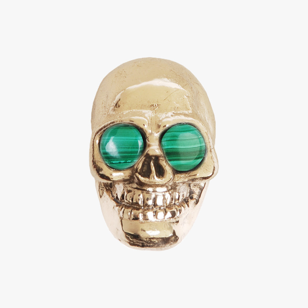 Skull knob handmade with malachite stone and polished brass by Matthew Studios