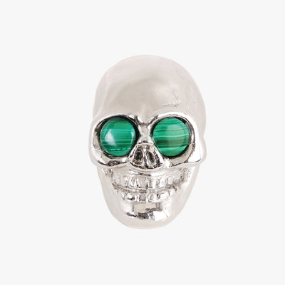 Skull knob handmade with malachite stone and polished chrome by Matthew Studios