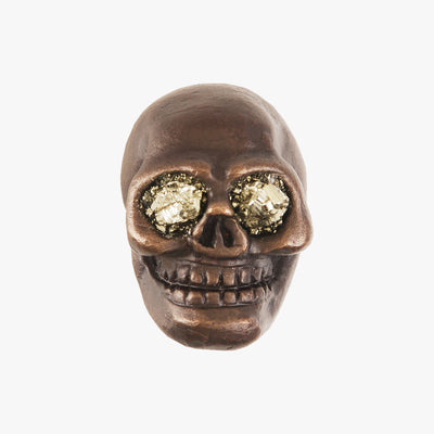 Skull knob handmade with pyrite stone and dark bronze by Matthew Studios