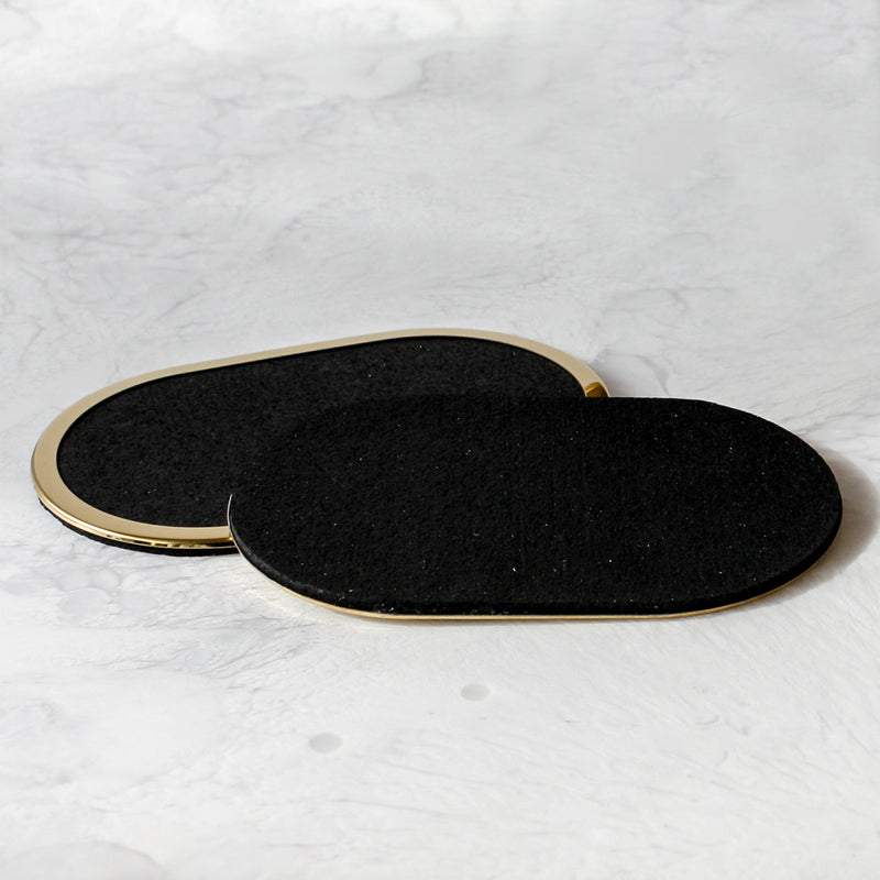 Rubber Coasters in black with brass edge trim