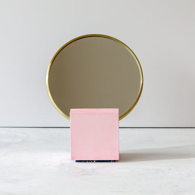 Vanity Mirror in Pink cast and Royal rubber back front by Slash Objects