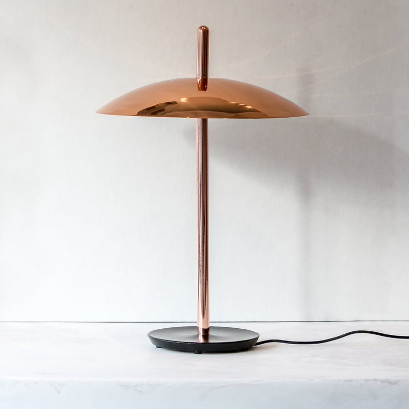 LED Signal table lamp in copper tone made of aluminum, steel and acrylic by Souda