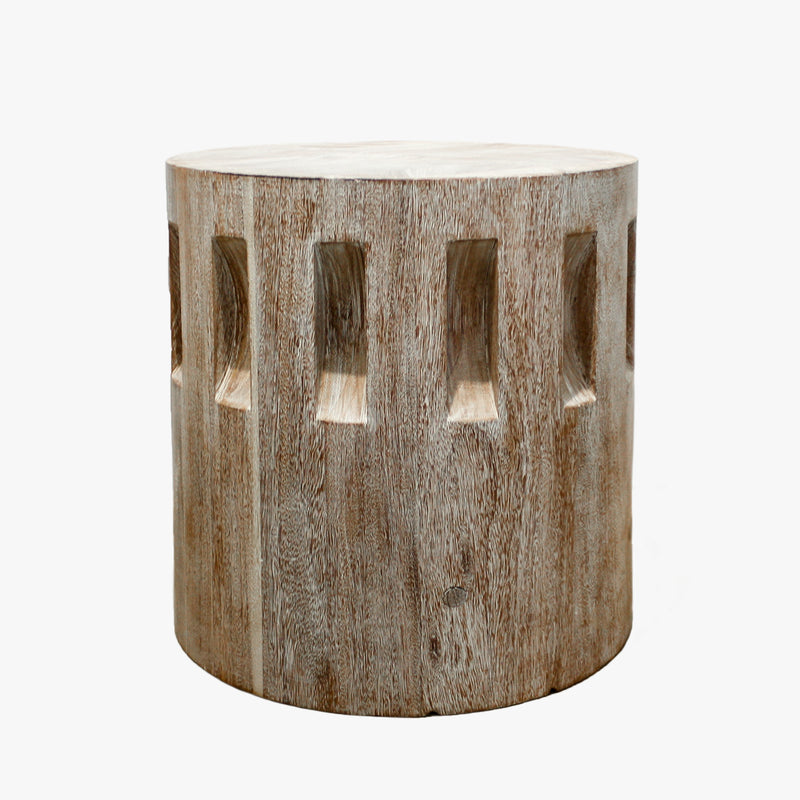 Short Sugar Gear Side Table in a rubbed finish by Sublime Original Furniture