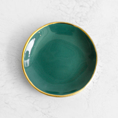 Gold Rim Ring Dishes handmade in a glazed porcelain with a genuine gold rim in agave green by Suite One Studio
