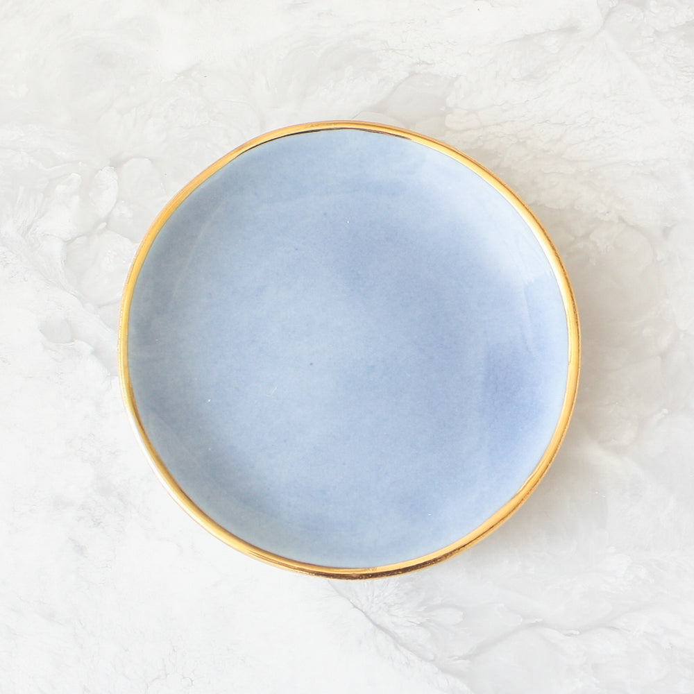 Gold Rim Ring Dishes handmade in a glazed porcelain with a genuine gold rim in French blue by Suite One Studio