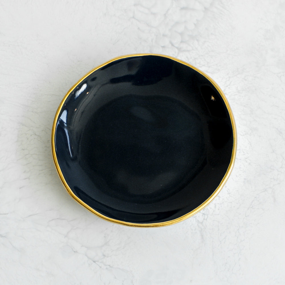 Gold Rim Ring Dishes handmade in a glazed porcelain with a genuine gold rim in navy blue by Suite One Studio