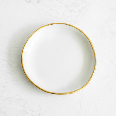 Gold Rim Ring Dishes handmade in a glazed porcelain with a genuine gold rim in white by Suite One Studio