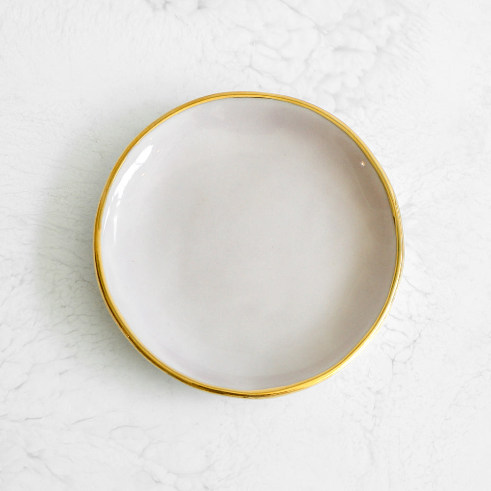 Gold Rim Ring Dishes handmade in a glazed porcelain with a genuine gold rim in wisteria purple by Suite One Studio