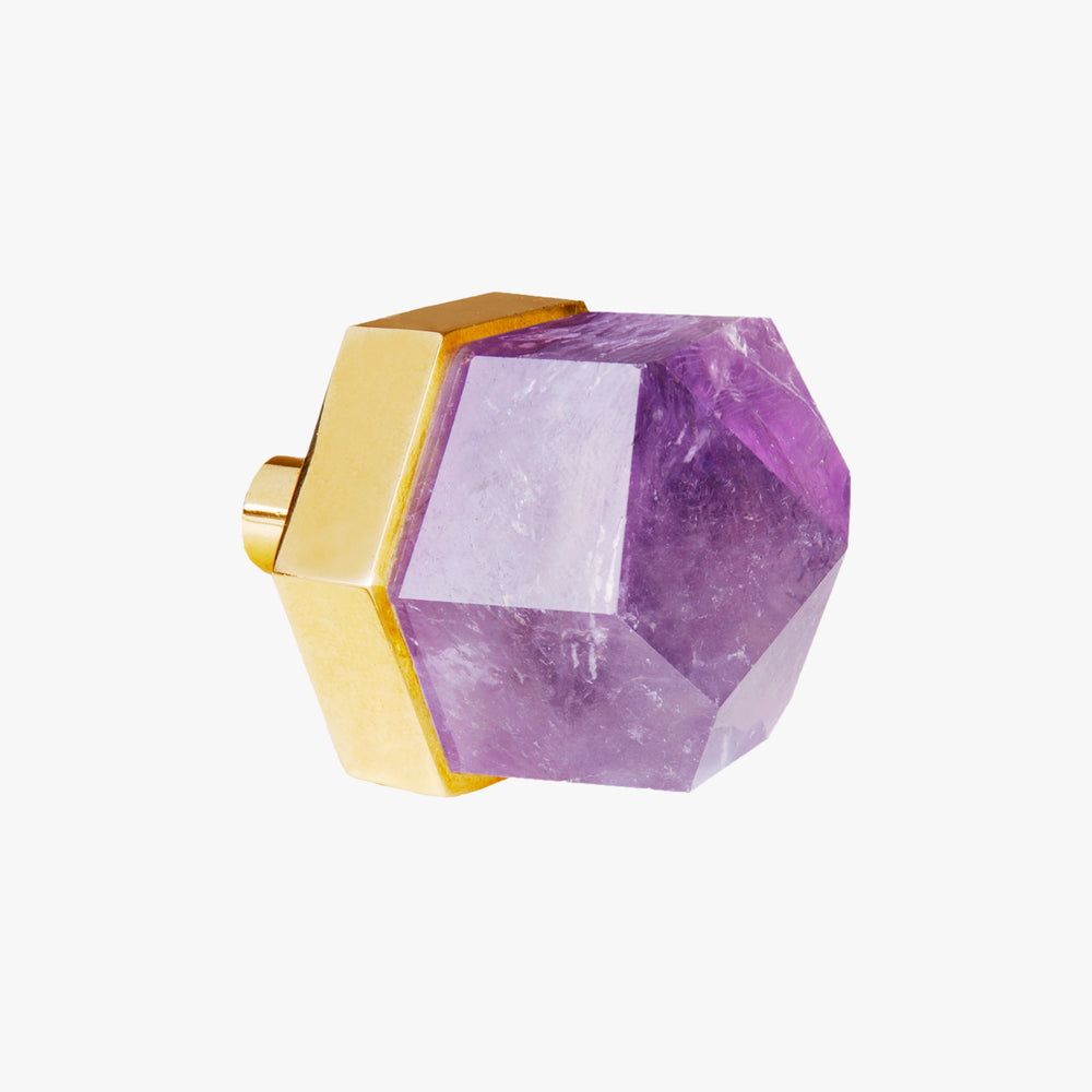 Thea knob handmade in amethyst stone and polished brass by Matthew Studios