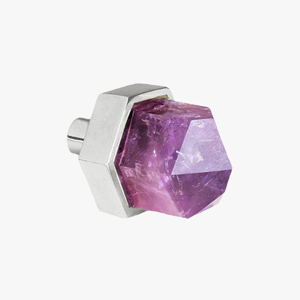 Thea knob handmade in amethyst stone and polished chrome by Matthew Studios