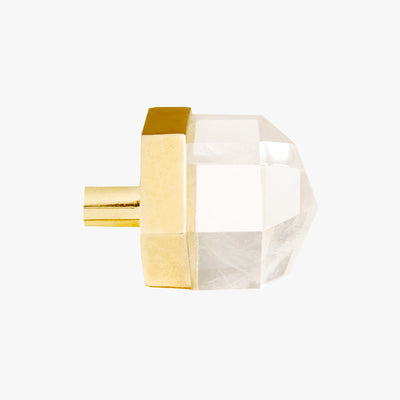 Thea knob handmade in clear quartz crystal and polished brass by Matthew Studios