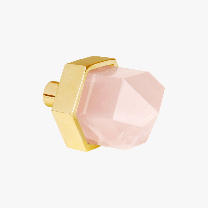 Thea knob handmade rose quartz crystal and polished brass by Matthew Studios