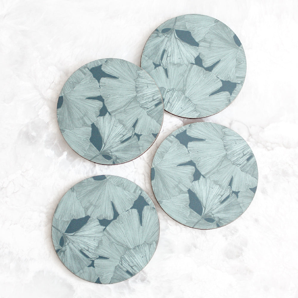 Gingko coasters made of cork and wood in gray by Tisch New York