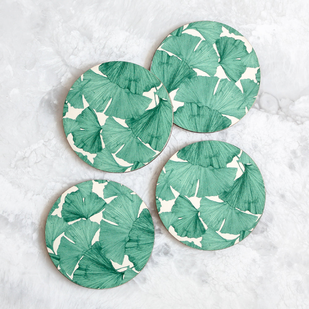 Gingko coasters made of cork and wood in green and white by Tisch New York