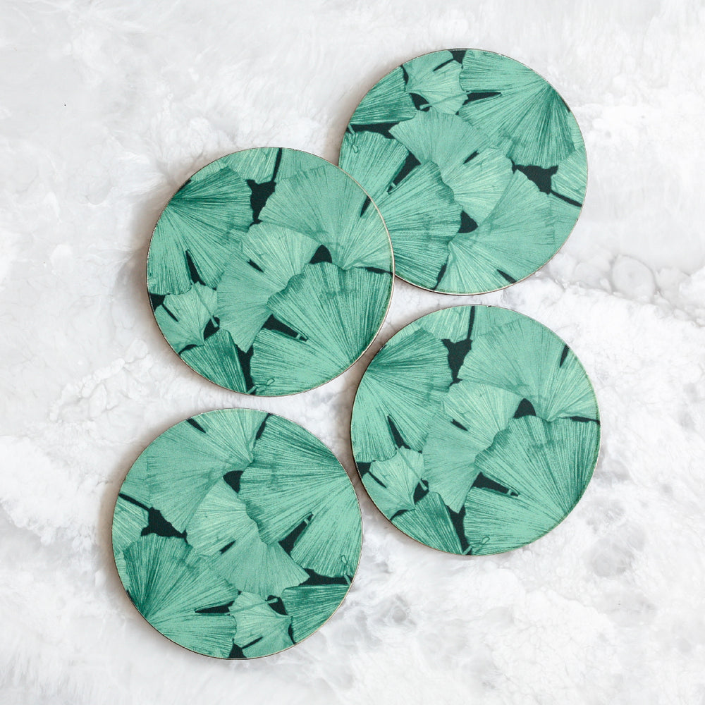 Gingko coasters made of cork and wood in green and black by Tisch New York