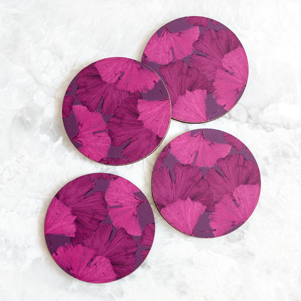 Gingko coasters made of cork and wood in purple by Tisch New York