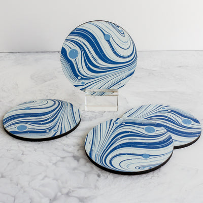 Marble coasters in french blue