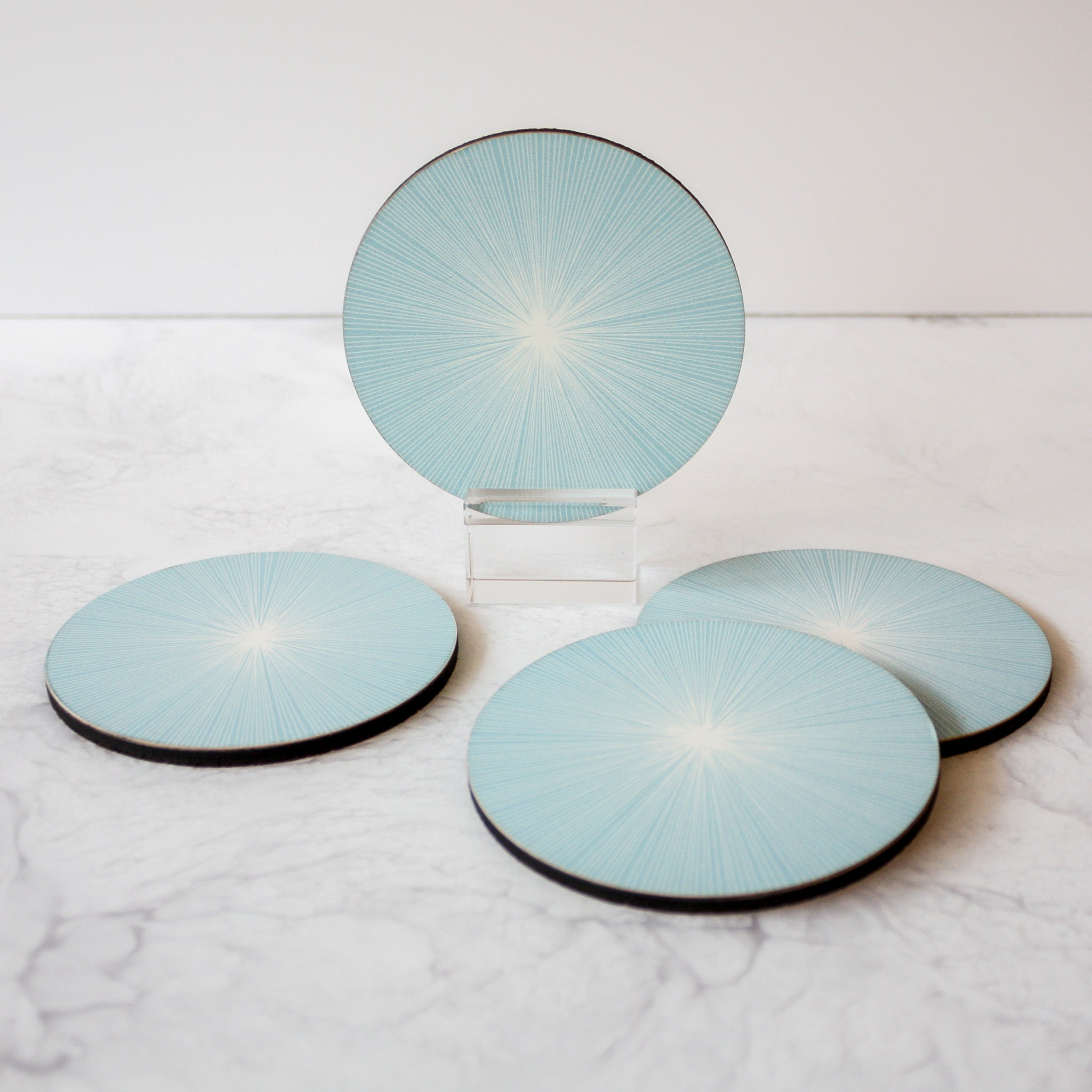 ice blue shadow lines coasters
