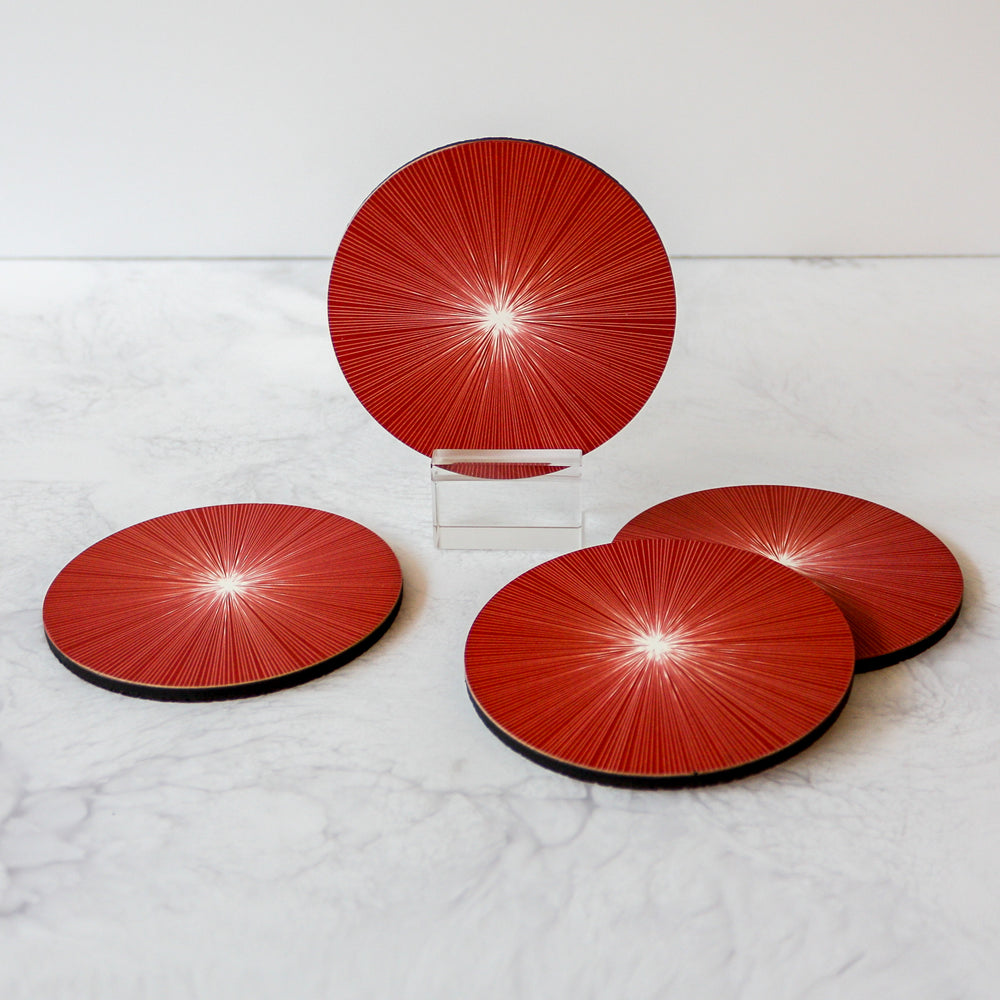 red shadow lines coasters