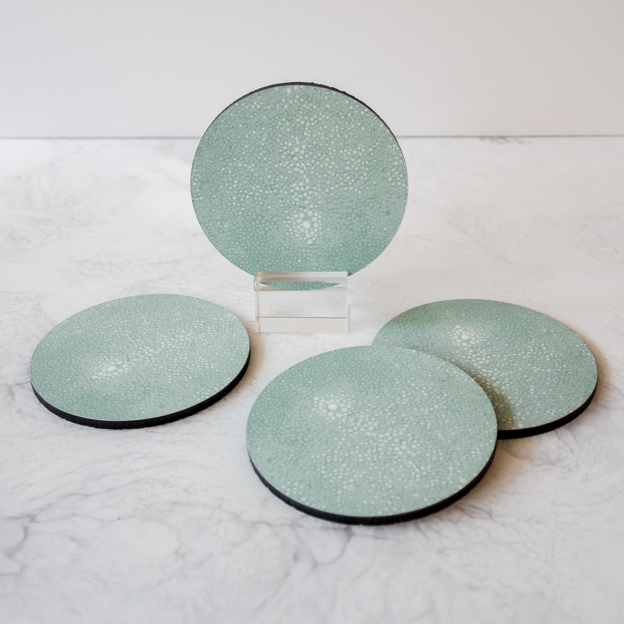 Printed Coasters - Shagreen in light green