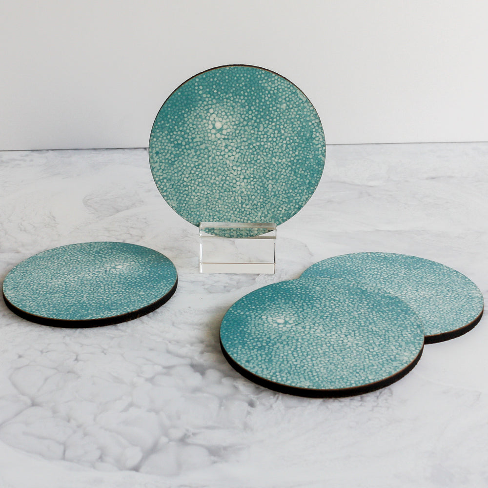Printed Coasters in shagreen turquoise