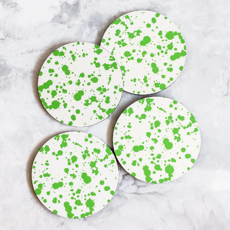 Printed Coasters with Splatter pattern in green made of cork and wood by Tisch New York