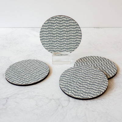 Printed Coasters - Teardrops in gray reverse