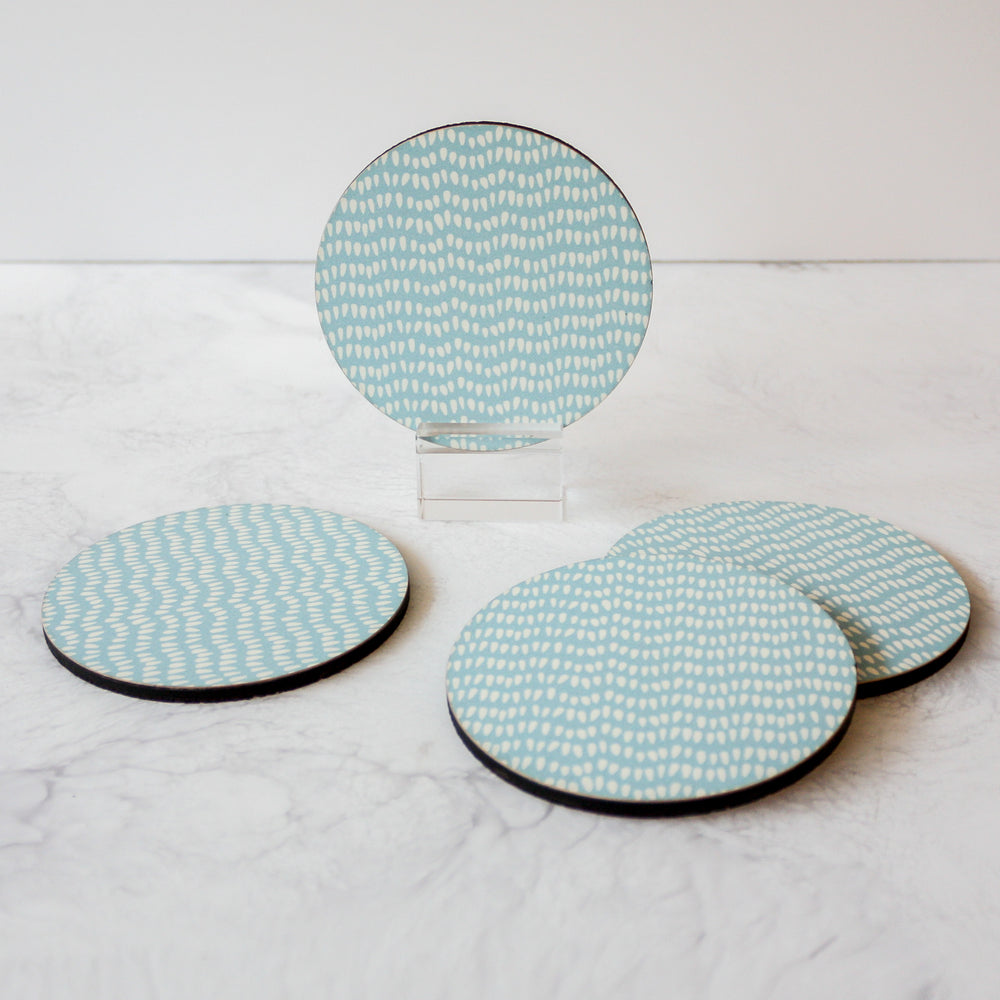 Printed Coasters - Teardrops in ice blue