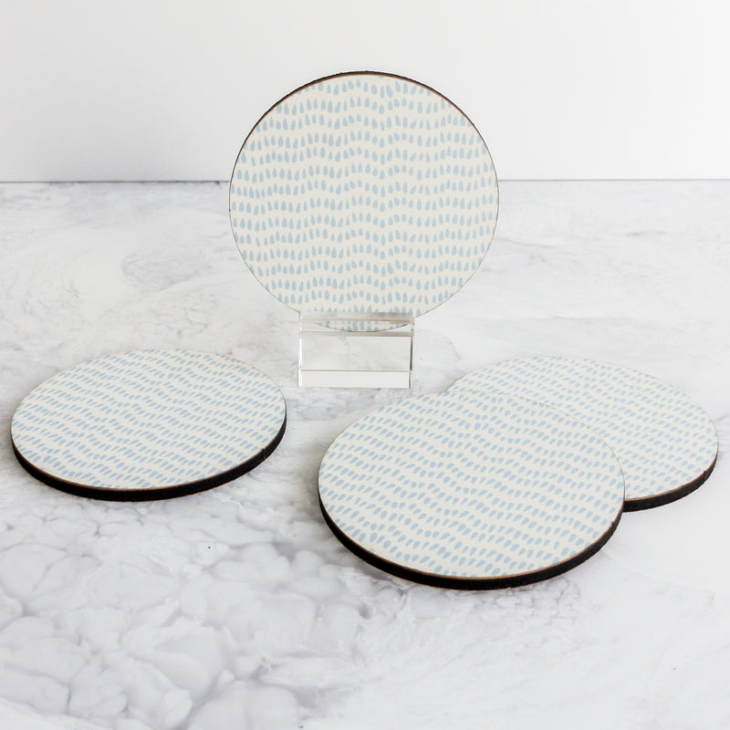 light blue teardrop coasters