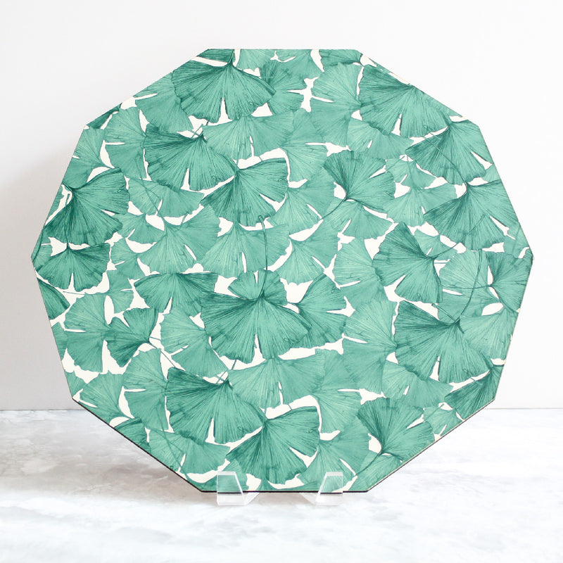 Gingko Placemat in green and white made of wood and cork by Tisch New York