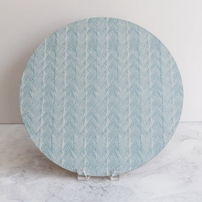 Herringbone placemats in mineral blue