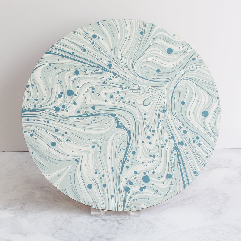 Marble placemats in mineral blue