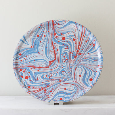 Marbleized Round Tray in blues and reds