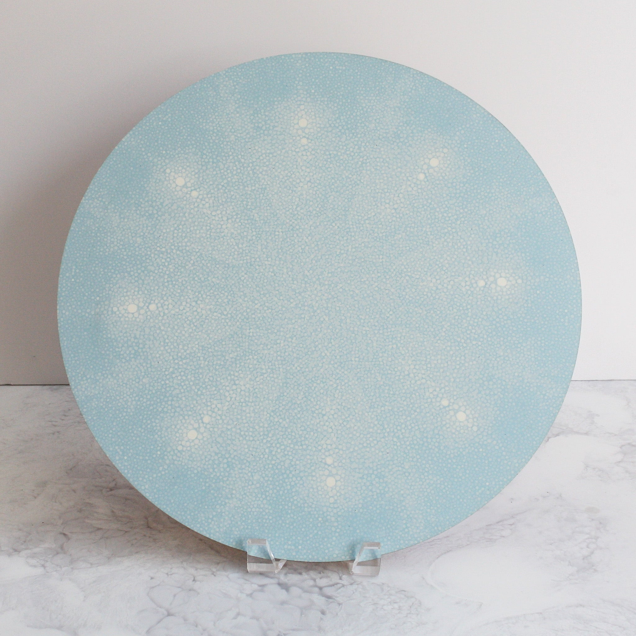 Shagreen placemats in ice blue