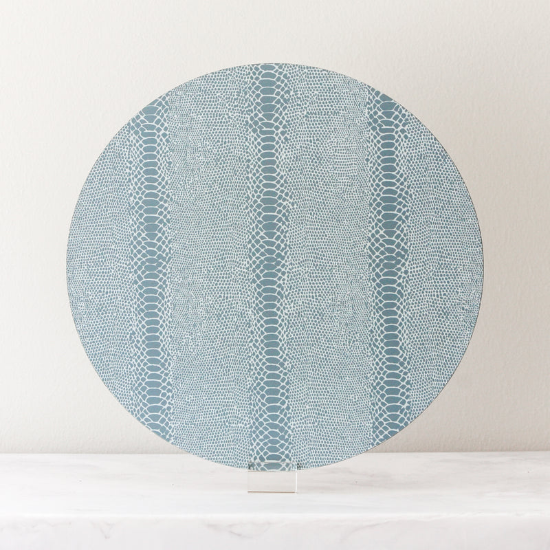 snake print placemats in light blue gray made of cork and wood by Tisch New York
