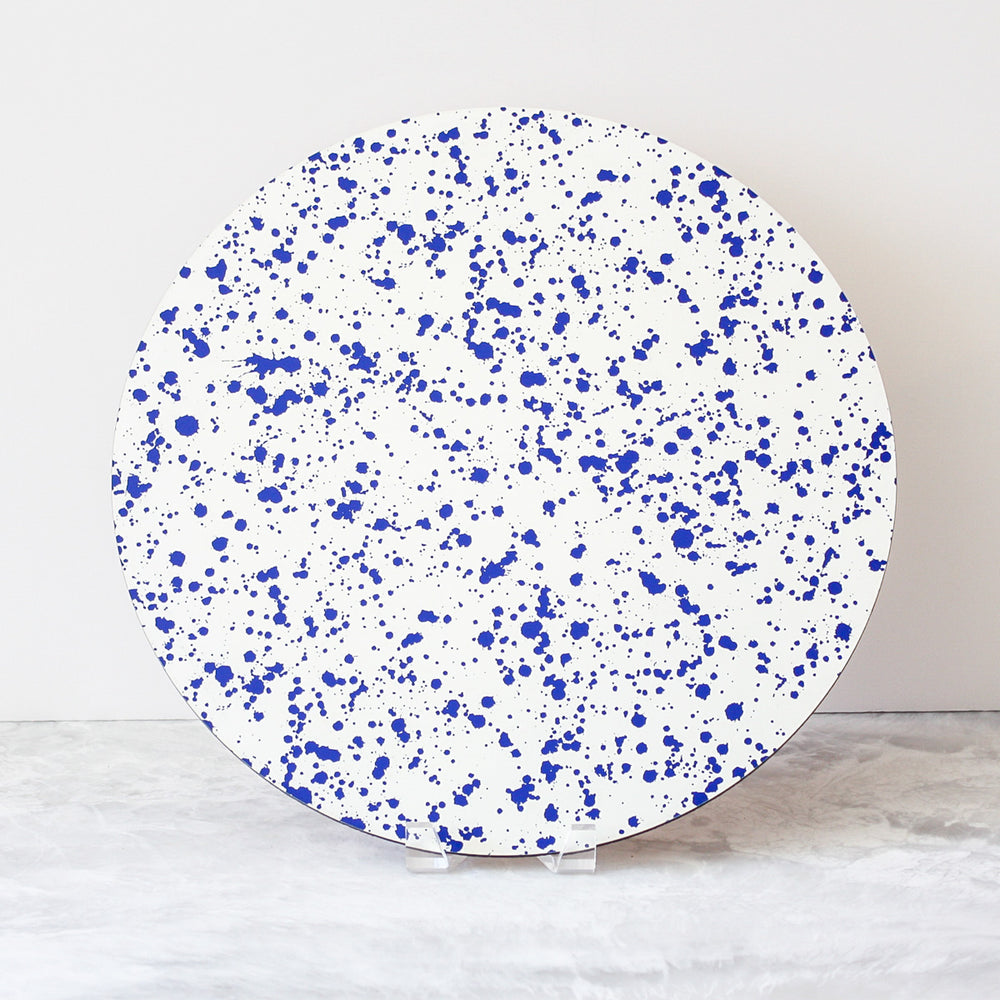 cobalt blue splatter placemats made of cork and wood by Tisch New York