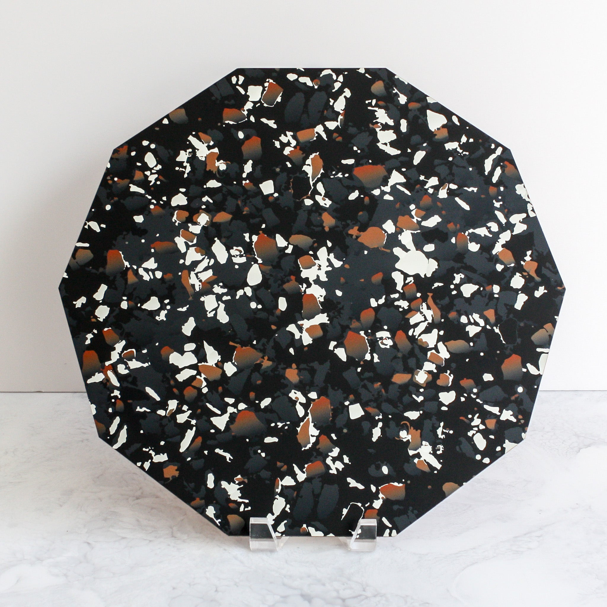 Terrazzo placemats in black made of cork and wood by Tisch New York