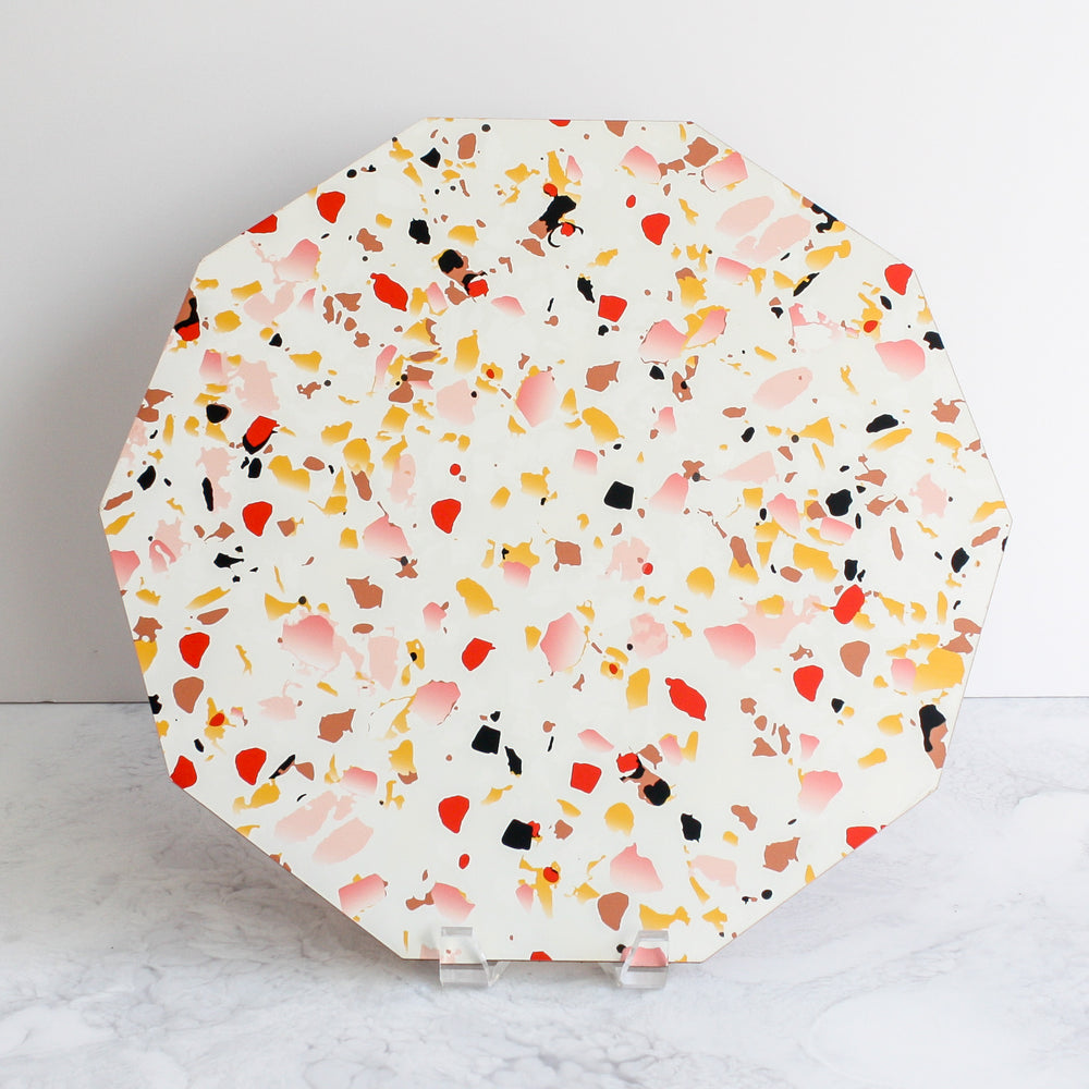 Terrazzo placemats in coral
