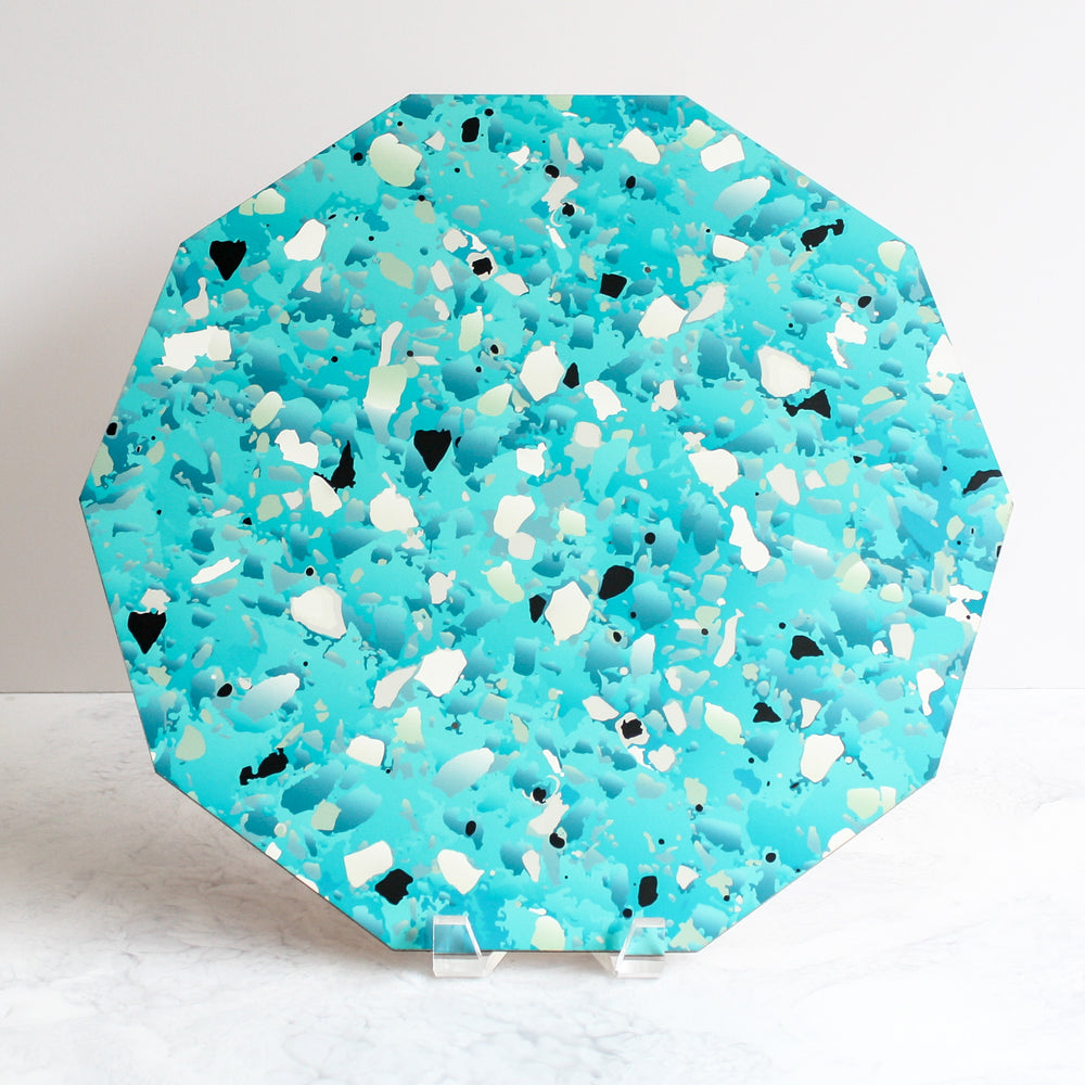 Terrazzo placemats in turquoise blue made of cork and wood by Tisch New York