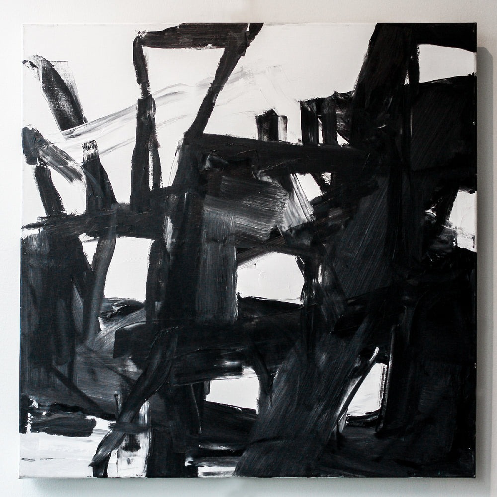 Untitled mixed media black and white painting by Shauna Pickering