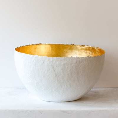 large gold paper mache bowl handmade in white and gold by Up in the Air Somewhere
